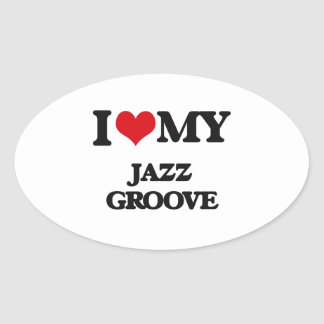 I Love My JAZZ GROOVE Oval Stickers