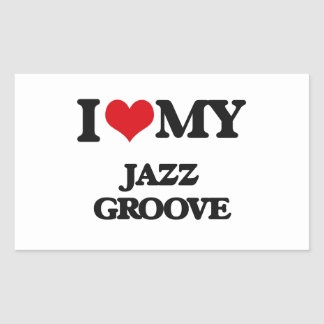 I Love My JAZZ GROOVE Rectangle Stickers