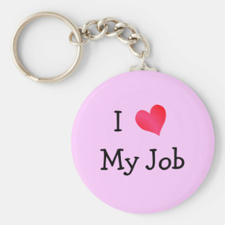 I Love My Job Pink Key Ring