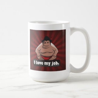 I love my job sumo basic white mug