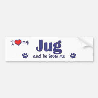 I Love My Jug (Male Dog) Bumper Sticker