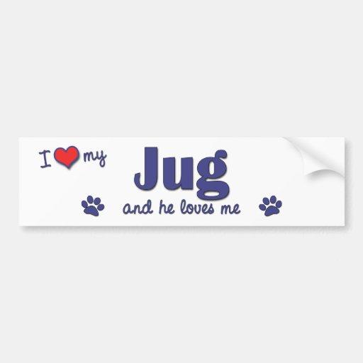 I Love My Jug (Male Dog) Bumper Sticker
