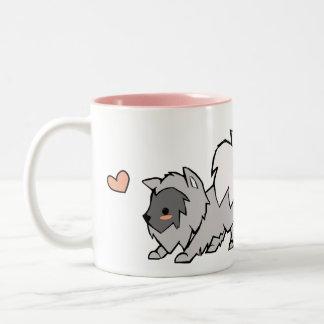 I love my Keeshond - Right Handed Two-Tone Coffee Mug
