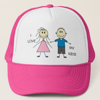 I LOVE MY KIDS Cute Smiley Stick Kids Design Trucker Hat