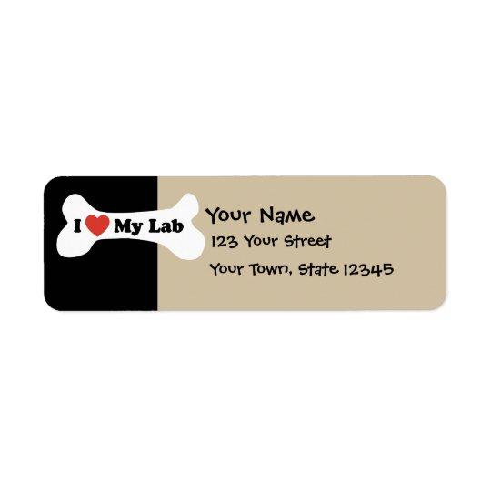 I Love My Lab - Dog Bone Return Address Label