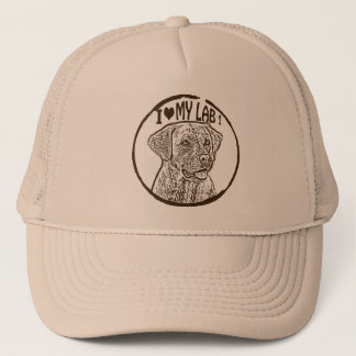 I LOVE MY LAB ! LABRADOR RETRIEVER GEAR TRUCKER HAT