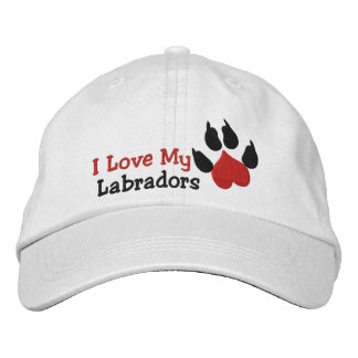 I Love My Labradors Dog Paw Print Embroidered Hat