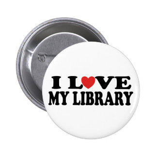 I Love My Library Librarian Gift Pinback Button