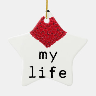 i love my life ceramic star decoration