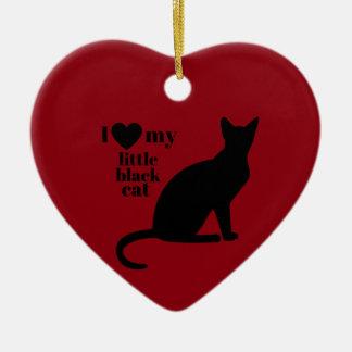 I Love My Little Black Cat Ceramic Heart Decoration