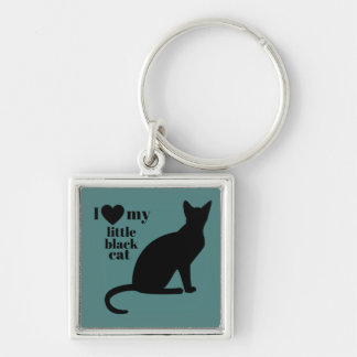 I Love My Little Black Cat Silver-Colored Square Key Ring