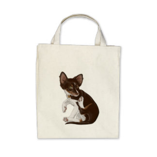 I love my little pup - Organic Grocery Tote Bags