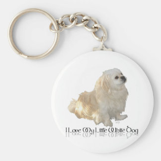 I Love My Little White Dog - Pekingese ! Key Ring