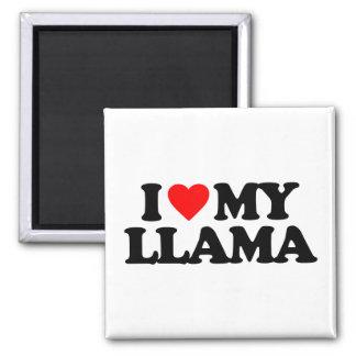 I LOVE MY LLAMA SQUARE MAGNET