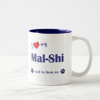 I Love My Mal-Shi (Male Dog) Two-Tone Coffee Mug