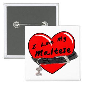 I Love My Maltese Heart with Dog Collar 15 Cm Square Badge