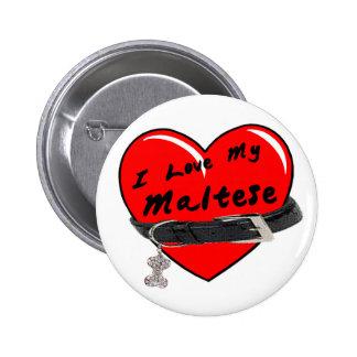 I Love My Maltese Heart with Dog Collar 6 Cm Round Badge