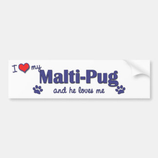 I Love My Malti-Pug (Male Dog) Bumper Sticker