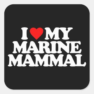 I LOVE MY MARINE MAMMAL SQUARE STICKERS