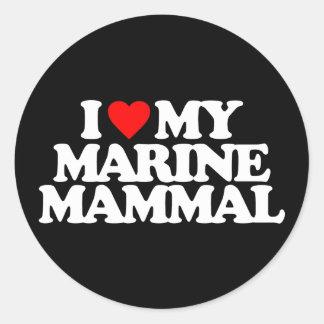 I LOVE MY MARINE MAMMAL ROUND STICKERS