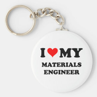 I Love My Materials Engineer Basic Round Button Key Ring