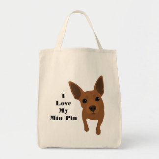 I Love My Min Pin Dog Tote (Red MIN PIN)