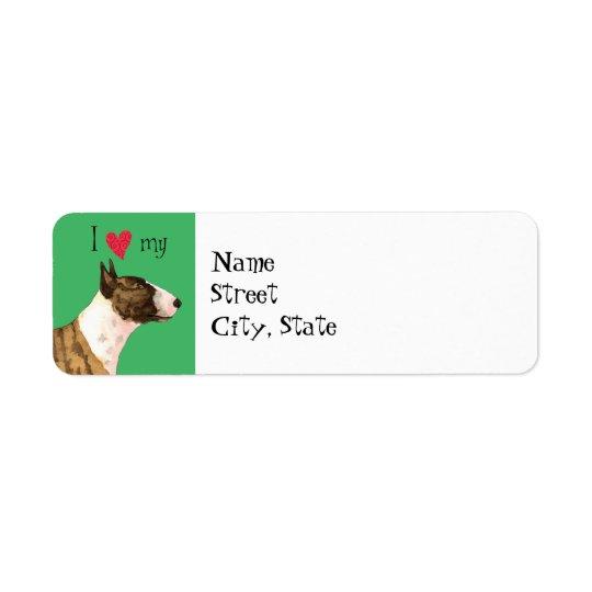 I Love my Mini Bull Terrier Return Address Label