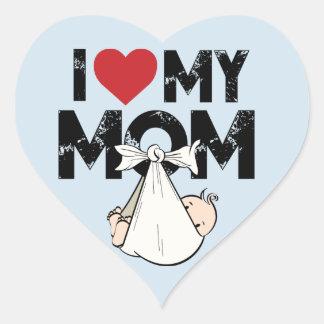 I Love My Mom Heart Sticker