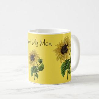 I Love My Mom Pretty Daisy Flowers Custom Quote Coffee Mug