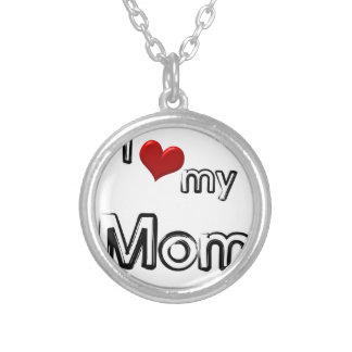 i love my mom silver plated necklace