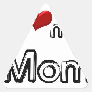 i love my mom triangle sticker