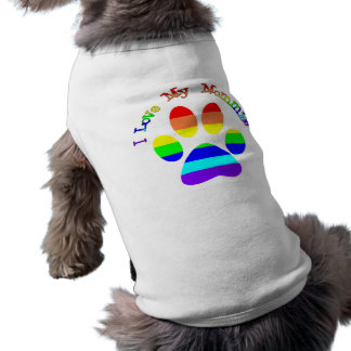I Love My Mommies Gay Pride Dog Tees Sleeveless Dog Shirt