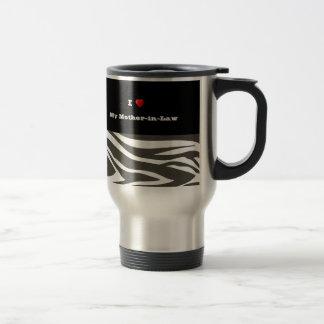 """""""I Love My Mother-in-Law"""" Dazzling Zebra Print Travel Mug"""