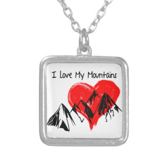I Love My Mountains! Silver Plated Necklace