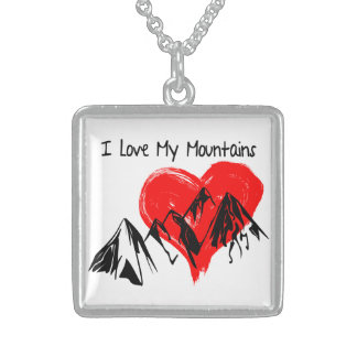 I Love My Mountains! Sterling Silver Necklace