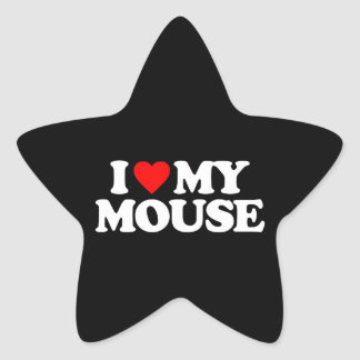 I LOVE MY MOUSE STAR STICKER