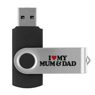 I LOVE MY MUM & DAD SWIVEL USB 2.0 FLASH DRIVE