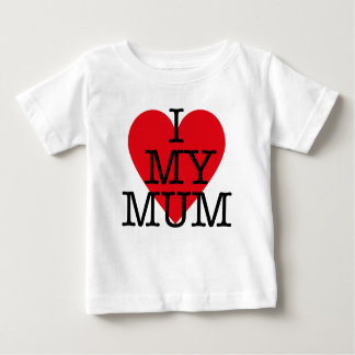 I Love My Mum Slogan Mothers Day Red Heart Design Baby T-Shirt