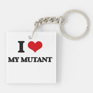 I Love My Mutant Double-Sided Square Acrylic Key Ring