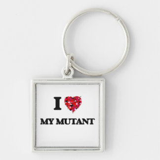 I Love My Mutant Silver-Colored Square Key Ring