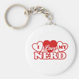 I Love My Nerd Basic Round Button Key Ring