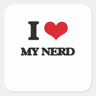 I Love My Nerd Square Stickers