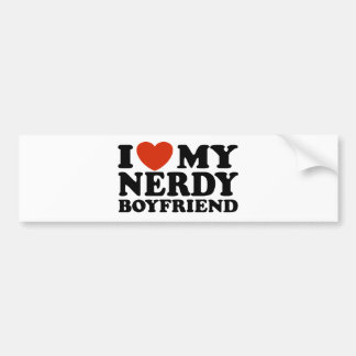 I Love My Nerdy Boyfriend Bumper Sticker