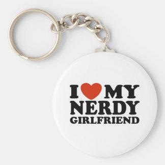 I Love My Nerdy Girlfriend Basic Round Button Key Ring