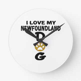 I Love My Newfoundland Dog Designs Wall Clocks