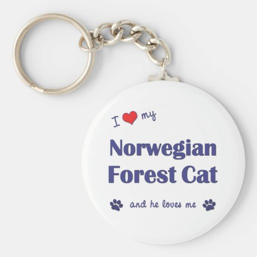 I Love My Norwegian Forest Cat (Male Cat) Key Chain