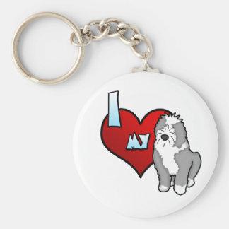 I Love my Old English Sheepdog Keychain