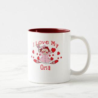 I love My Oma Rag Doll & Hearts Two-Tone Mug