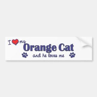 I Love My Orange Cat (Male Cat) Car Bumper Sticker