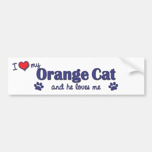 I Love My Orange Cat (Male Cat) Bumper Stickers